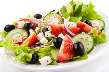 photo of a healthy greek salad on a plate