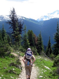 family hiking Blackcomb Whistler mountain