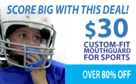 Score big with this deal! $30 custom-fit mouthguard for sports.
