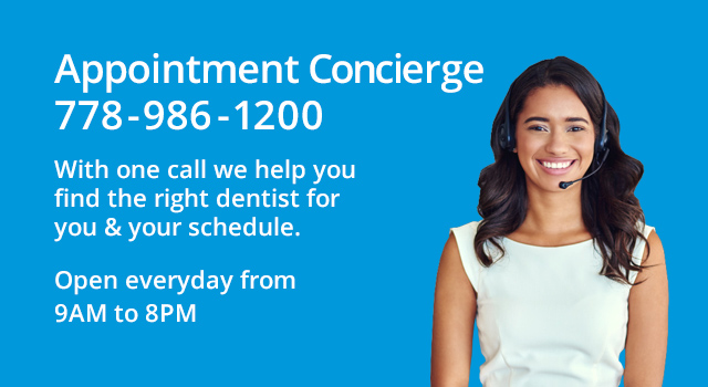 Dental appointment concierge service offered by 123Dentist - Call 778-986-1200