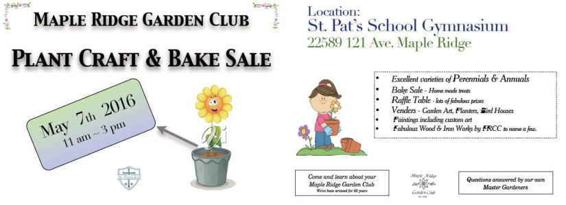Maple Ridge Garden Club Plant Craft and Bake Sale in Maple Ridge