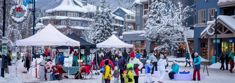 Family Aprés at Whistler Olympic Plaza in Whistler