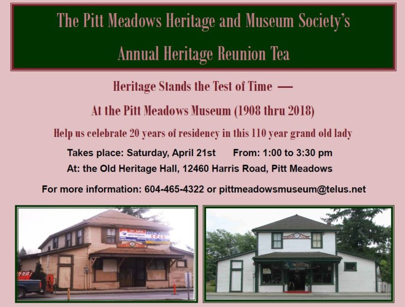 Annual Heritage Reunion Tea in Pitt Meadows