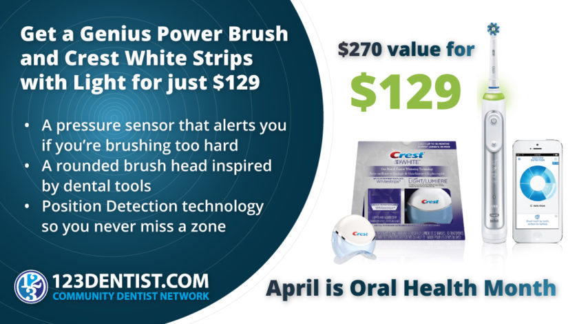 Oral Health Month 2019 – Genius Power Brush and Crest Whitestrips with Light from 123Dentist