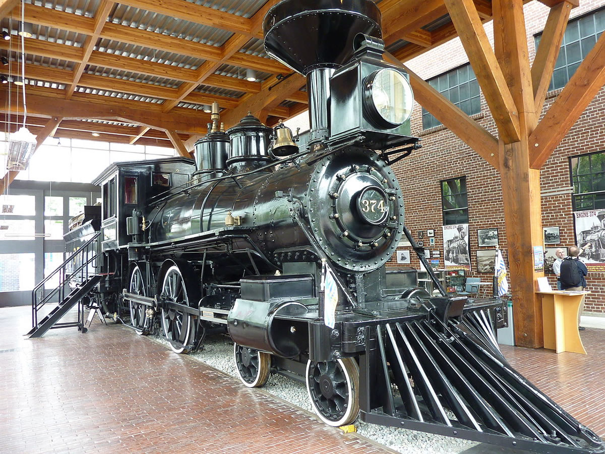 CPR engine No 374 was the first to pull a transcontinental passenger train to Vancouver. It is on display in Vancouver at the Engine 374 Pavilion and is open daily for public viewing