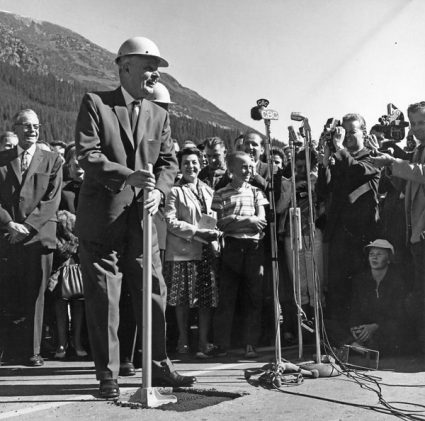 Prime Minister Diefenbaker at the opening ceremony of the Trans-Canada Highway, Rogers Pass, B.C. 1962.