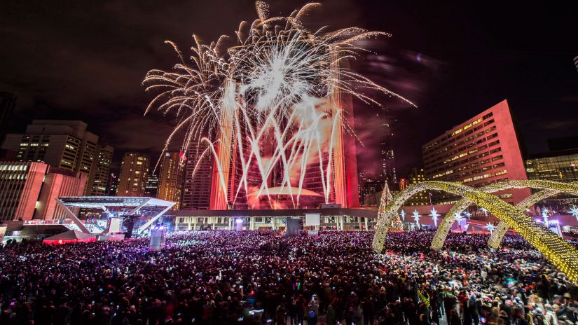 New Year's Eve at Nathan Phillips Square in Toronto