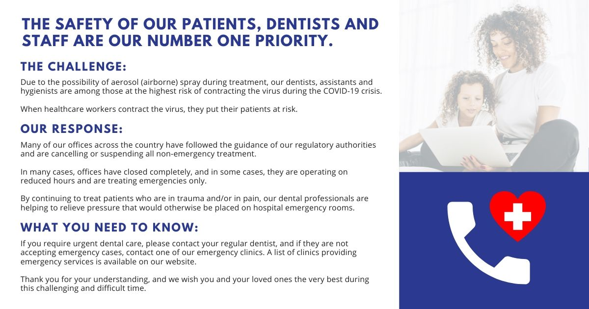 At 123Dentist, the safety of our patients, dentists and staff are our number one priority.
